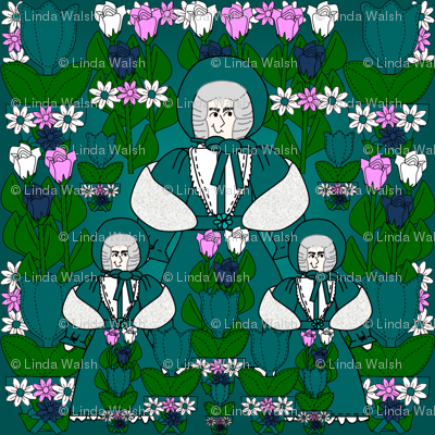 Helena Gray Is Beautiful Victorian LadyDoll, Tulips and Flowers Fabric #1