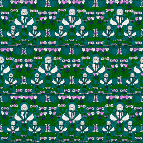 Helena Gray Is Beautiful Victorian LadyDoll, Tulips and Flowers Fabric #1 fabric by lworiginals on Spoonflower - custom fabric