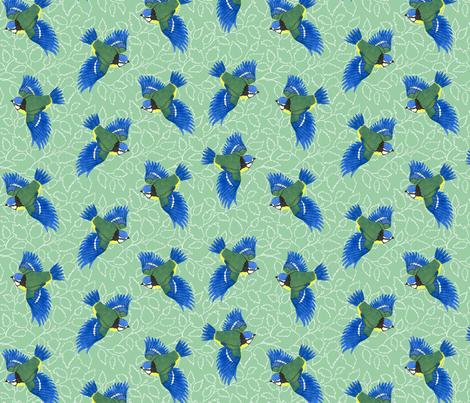 Blue Tits on Birch Leaves fabric by threebearsprints on Spoonflower - custom fabric