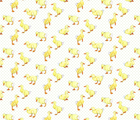Ducklings on dots fabric by threebearsprints on Spoonflower - custom fabric
