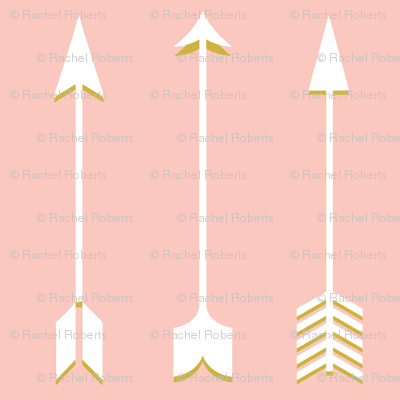 Blush and Gold Arrow - Blush Gold White