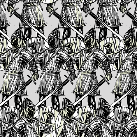 Vikings grey fabric by susiprint on Spoonflower - custom fabric