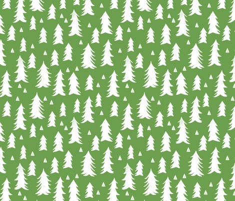 tree // trees forest grass green spring trees forest fir tree fabric by andrea_lauren on Spoonflower - custom fabric
