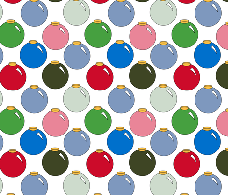 Christmas Colors Ornaments on white fabric by pamelachi on Spoonflower - custom fabric