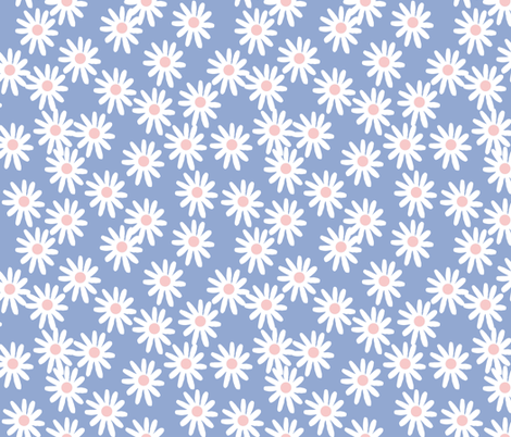 Daisies // pantone serenity blue  fabric by andrea_lauren on Spoonflower - custom fabric