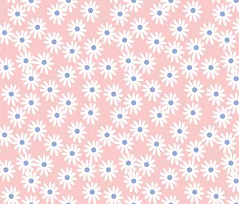 Daisies // floral pantone rose quartz and serenity blue  fabric by andrea_lauren on Spoonflower - custom fabric