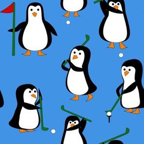 penguin golf blue
