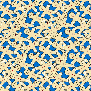 gingerbread cookies on blue