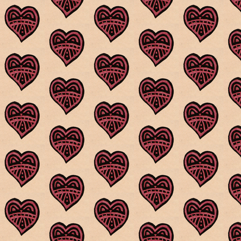 watercolor heart fabric by fiberdesign on Spoonflower - custom fabric