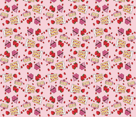 Strawberry Cake fabric by longoatelier on Spoonflower - custom fabric