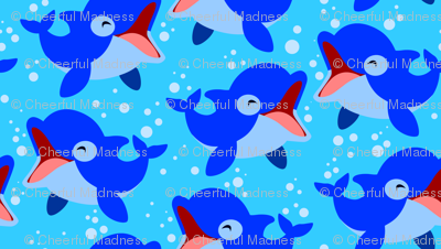 Laughing Little Dolphins Light Blue by Cheerful Madness!!