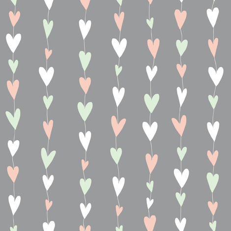 Heart Strings (grey) fabric by seesawboomerang on Spoonflower - custom fabric