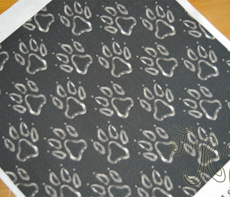 Faux metalic silver dog paw prints