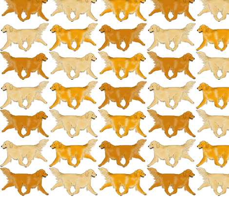 Trotting Golden Retriever border fabric by rusticcorgi on Spoonflower - custom fabric