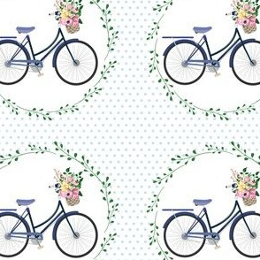 Floral Bicycle Polka Dots