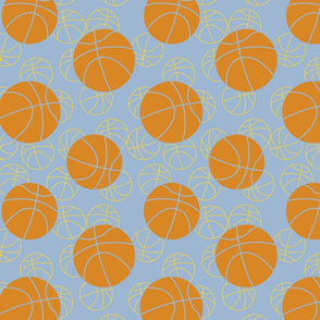 basketballs on blue