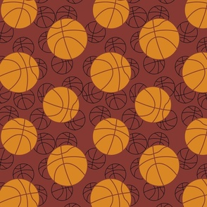 Basketballs on maroon