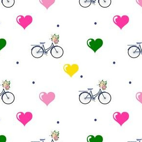 Floral Bicycle with Hearts