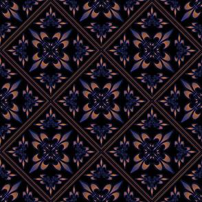 fleur-de-lis_square_black_purple_orange_diagonal