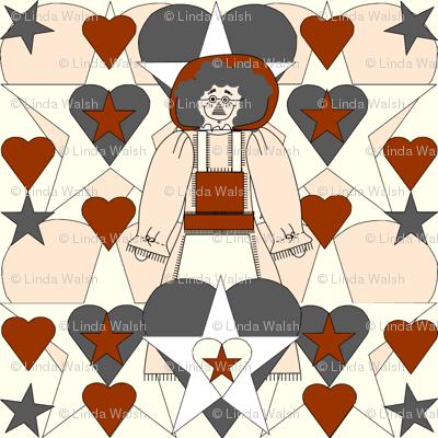 Sweet Julianna Gray Is Beautiful Primitive  Doll, Rust Hearts and Stars Fabric #1