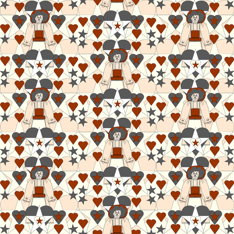Sweet Julianna Gray Is Beautiful Primitive  Doll, Rust Hearts and Stars Fabric #1 fabric by lworiginals on Spoonflower - custom fabric