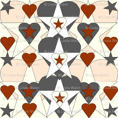 Sweet Julianna Gray Is Beautiful Primitive Doll Rust Hearts and Stars Fabric #2
