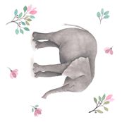 Elephant Florals - Large 90 degrees Print