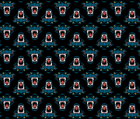Carolina Football Panther Cardiac Cats fabric by khaus on Spoonflower - custom fabric
