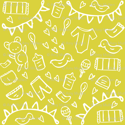 Nursery Doodles Yellow Lime