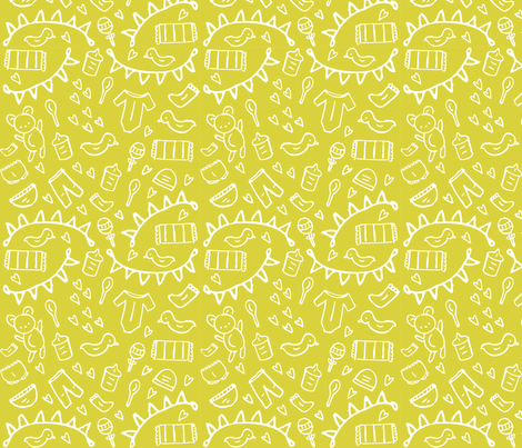 Nursery doodles yellow lime fabric mintparcel spoonflower for Yellow nursery fabric