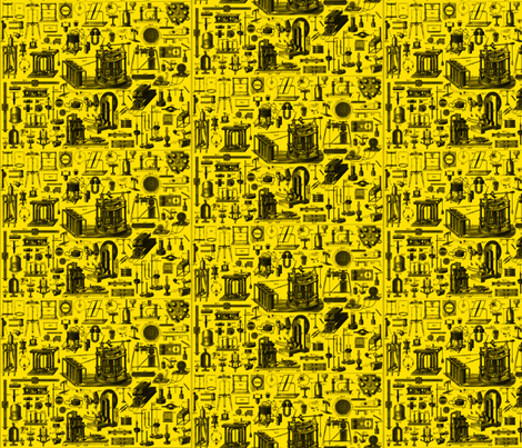 physics_devices_yellow fabric by craftyscientists on Spoonflower - custom fabric