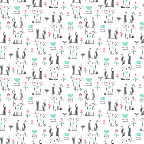 Dreamy Bunny Rabbit 1,5 inch  fabric by caja_design on Spoonflower - custom fabric