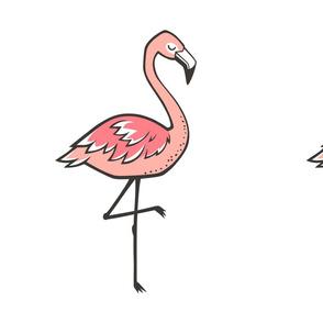 Flamingo Peach Pillow Plush Plushie Softie Cut & Sew