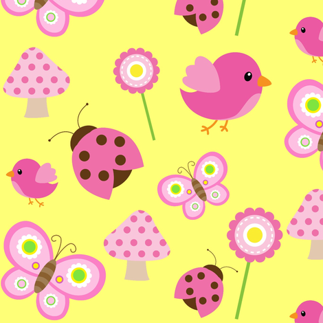 Yellow Woodland Friends fabric by sunshineandspoons on Spoonflower - custom fabric