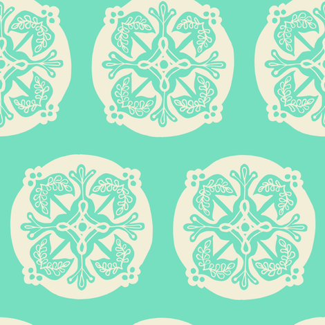 Medallion - mint fabric by rochelle_new on Spoonflower - custom fabric