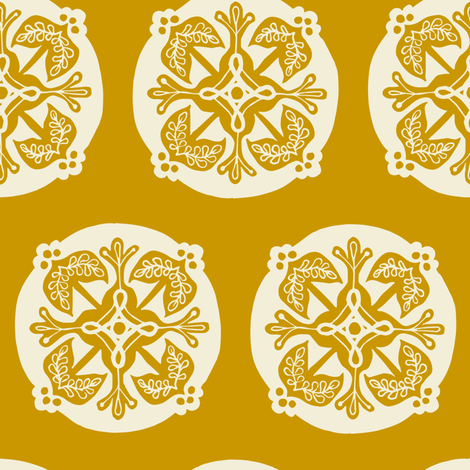 Medallion - mustard fabric by rochelle_new on Spoonflower - custom fabric