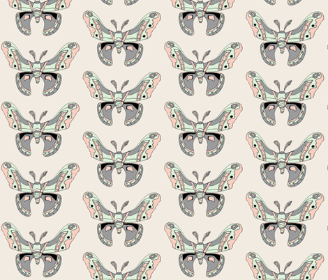 Pastel Crecopia Moth fabric by raindragon on Spoonflower - custom fabric