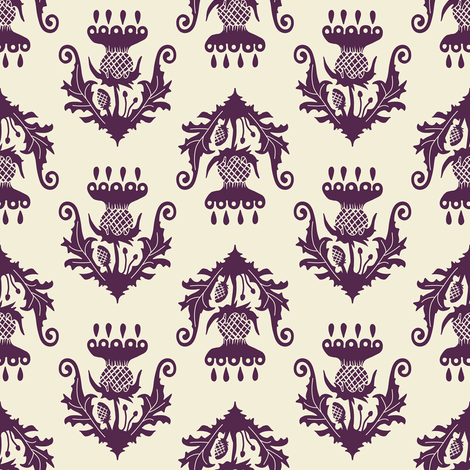 Little Thistle - eggplant fabric by rochelle_new on Spoonflower - custom fabric