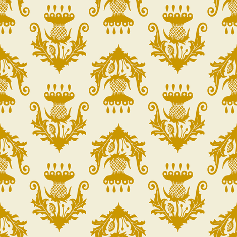 Little Thistle - mustard fabric by rochelle_new on Spoonflower - custom fabric