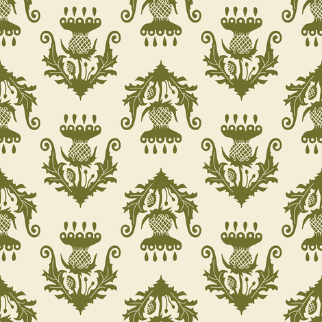 Little Thistle - olive fabric by rochelle_new on Spoonflower - custom fabric