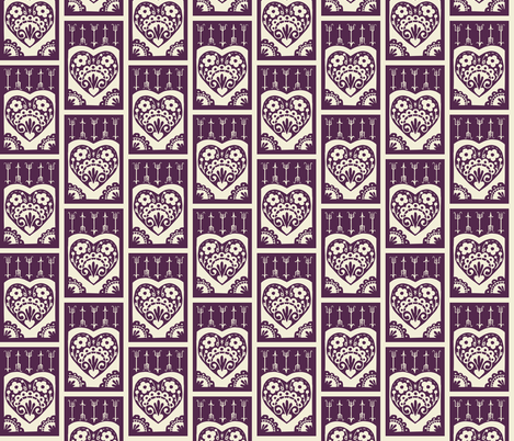 Little Valentine - eggplant fabric by rochelle_new on Spoonflower - custom fabric