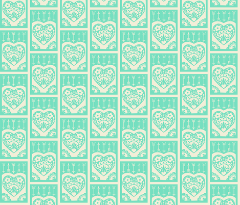 Little Valentine - mint fabric by rochelle_new on Spoonflower - custom fabric