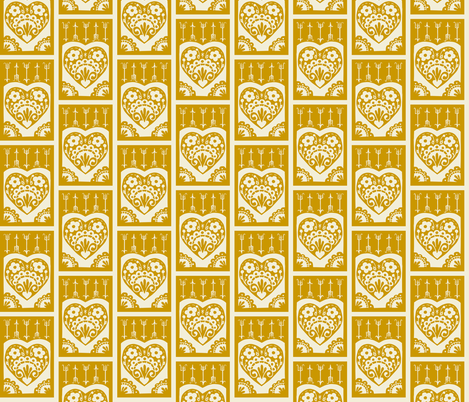 Little Valentine - mustard fabric by rochelle_new on Spoonflower - custom fabric