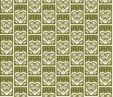 Little Valentine - olive fabric by rochelle_new on Spoonflower - custom fabric