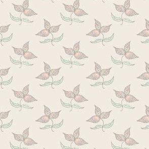 Many Hearts 3 Leaves on Cream