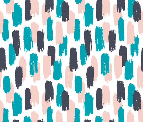 Painted stripes in blue, pink and grey brush strokes fabric by revista on Spoonflower - custom fabric