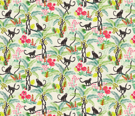 Tropical Monkeys (small scale) fabric by jill_o_connor on Spoonflower - custom fabric