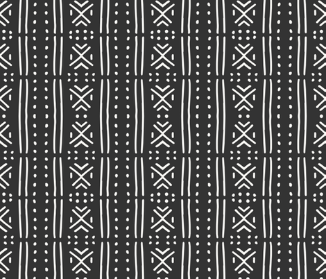line_mudcloth_dark fabric by holli_zollinger on Spoonflower - custom fabric