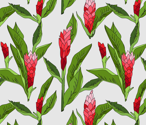 gingerflower_red_light fabric by holli_zollinger on Spoonflower - custom fabric