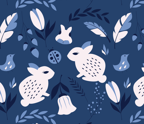 Bunnies and flowers 003 fabric by bluelela on Spoonflower - custom fabric